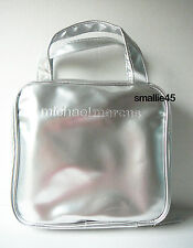 Michael Marcus Silver Metallic Cosmetic MakeUp Case/Toiletry Bag - NWOT