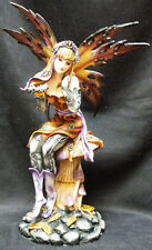 Butterfly Fairy with Butterflies on Mushroom Statue Figurine H16""