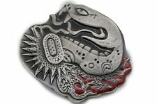 New Men Women Silver Metal Belt Buckle Wild Animal Cobra Snake Large Size Huge