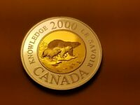 Canada 2000 Knowledge Toonie $2 Sterling Silver Proof Gem Coin.