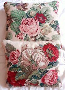 2 X Vintage Needlepoint Cushions Velvet Backs Feather