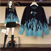 Womens Fashion Butterfly Embroidered Pullover Loose Knitted Sweater Cardigan SKG