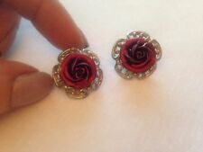 beautiful CLIP ON silver plated  red ROSE genuine antique vintage EARRINGS