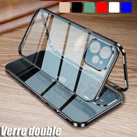 iPhone 12   12 PRO Luxe Métal Aimanté Bumper Deux Verre Trempé Coque Étui Housse