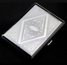 METAL CIGARETTE CASE . . . silver metal engraved design cigerette holder gift