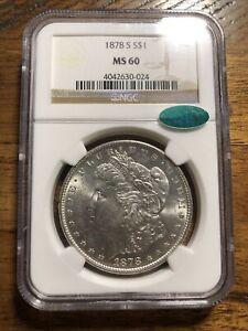 1878 S MS60 Morgan CAC $1 NGC 1878-S NGC MS-60 Silver Morgan A1681
