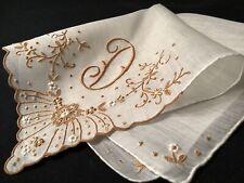 "#5925🌟PREMIUM Vintage 40s CARAMEL Madeira Monogram ""D"" Wedding Handkerchief"