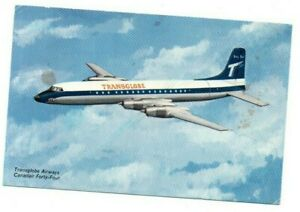 AIRLINE ISSUE POSTCARD TRANSGLOBE AIRWAYS AIRLINER NOTE PLAIN BACK VINTAGE 1950S