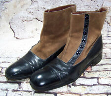 Vintage Hipster Suede Leather Button Boots Mens Italy Rossetti Moda Size 9.5