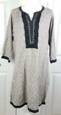 KHAADI womens size 14 gray black boho embroidered 3/4 sleeve cotton tunic dress