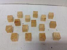 16 piece Vintage ABC'S Alphabet Wooden Wood Blocks Letters Craft unpainted decor