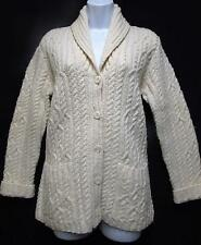 Ralph LAUREN Hand Knit Cable Shawl Collar Button Wool Cardigan Sweater Beige  S