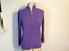 LAUREN Ralph Lauren Purple Cotton Cable Knit  3/4 Sleeve Zip Jacket Size Medium