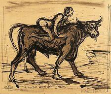 KLAUS DRECHSLER - Europa auf dem Stier - Federzeichnung 2002