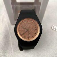 Ice-Watch Glitter Women's Watch Quartz Gold Black Silicone Strap Analogue 001353