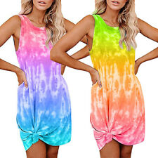 Women's Tie Dye Summer Sleeveless Dress Casual Loose Tank T-Shirt Short Sundress