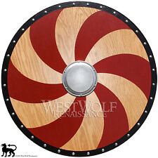Viking Red Spiral Shield - Golden Oak --- sca/larp/norse/warrior/armor/Norway