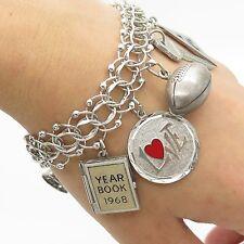 """Vtg 925 Sterling Silver Assorted Dangling Charm Bracelet 6.5"""""""