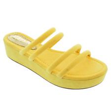 Liliana DANI-1 Yellow Faux Suede Double Straps Open Toe Flatform Platform Slide