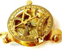 "4"" Brass Sundail Compass Antique Vintage Style Nautical Maritime Hiking @"