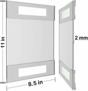 "NIB 10x wall mount clear display signs with adhesive/  8.5 x 11 """
