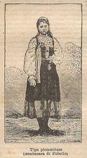 A0425 Tipo Piemontese (Montanara di Fobello) - Stampa Antica 1907 - Xilografia