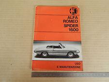 MANUALE USO MANUTENZIONE ORIGINALE 1966 ALFA ROMEO GIULIA 1600 SPIDER