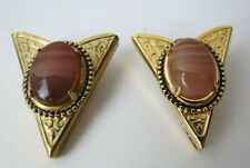 Vintage Western Style Gold Tone Engraved Banded Agate Collar Tips Screw On