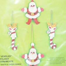"Vintage Bucilla ""Santa & Candy Canes"" Reindeer Jeweled Christmas Ornaments 2116"