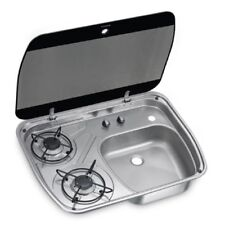 Dometic 2 Burner Gas Hob Sink Compact Combination Unit With Glass Lid HSG 2445