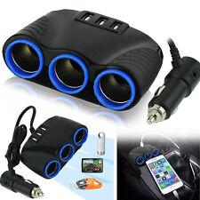 3 way Car Multi Cigarette Lighter Socket Splitter 3USB Charger 12V Power Adapter