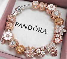 Authentic Pandora Silver Charm Bracelet ROSE GOLD LOVE HEART European Beads~NIB