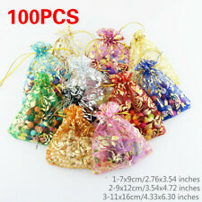 100PCS Flower Organza Drawstring Bag Jewelry Pouch Wedding Favor Gift Bags