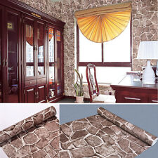 Brick Wallpaper Self-adhesive Wall Decoration Sticker Cover 10m Long 45cm Wide Marron Stone