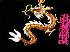 Betsey Johnson 3D Gold Crystal Dragon Pendant Necklace Sweater Chain