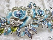 Swarovski Elements Hand Painted Roses Hair Barrette Imported from England NEW