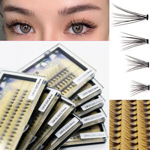 60Pc Individual Eyelashes Knotted Flare Cluster Ultra Thick Lashes Makeup Beauty