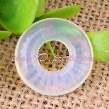 20mm Ring Donut Round Smooth White Opalite Gemstone Pendant Spacer Beads 1 Pcs