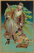 Merry Christmas - Santa Claus Brown Suit Embossed - 04.37