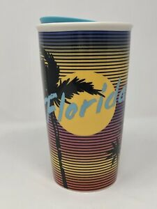 Starbucks Retro FLORIDA Beach Coffee Travel Tumbler Lid Mug Cup 12oz VERY COOL