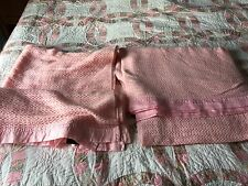 VINTAGE ACRYLIC BLANKET with SATIN EDGEs  Pale Pink X 2 blankets