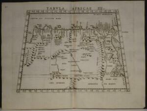 EGYPT LIBIA  NORTH AFRICA 1564 PTOLEMY & RUSCELLI ANTIQUE COPPER ENGRAVED MAP