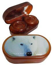 Especies en peligro de extinción Espejo caso remojo Estuche de lentes de contacto-Oso Polar