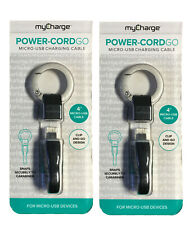 Micro USB Charging Cable Keychain PowerCord Go by MyCharge Black (Lot of 2)
