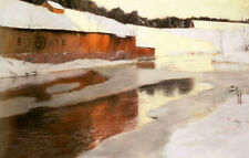 Oil painting Frits Thaulow a factory building near an icy river in winter scene