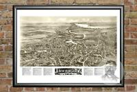Old Map of Bridgton, ME from 1888 - Vintage Maine Art, Historic Decor