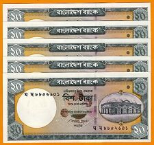 5 Pcs Bangladesh 20 Taka -Bank Note- 2011  P- 48d - Cripsy-UNC Atiur Rahman Sign
