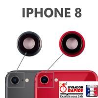 Vetro Posteriore Macchina Fotografica IPHONE 8 Rosso Nero Lente Copertina Back