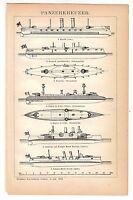 1898 Armored Cruiser Panzerkreuzer Steam Ship Battleship Warship Spanish Austria
