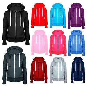 Ladies Unisex Plain Fleece Zip Hoodie Hooded Sweatshirt Jacket Hoody Jumper Top